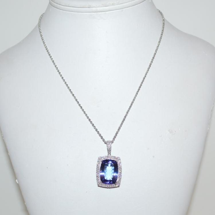 Platinum tanzanite and diamond necklace for Gulf coast coin and jewelry