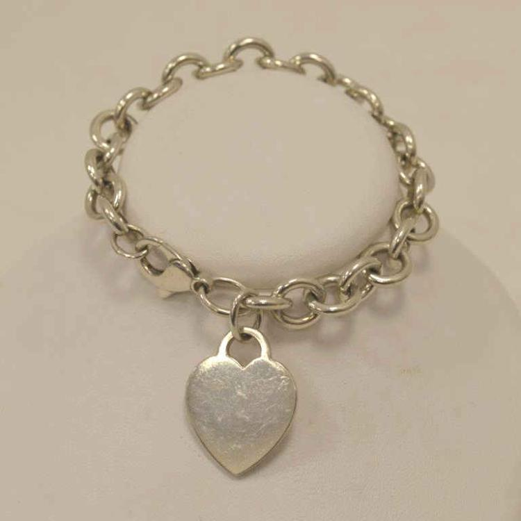 Tiffany co sterling silver heart tag bracelet for Gulf coast coin and jewelry
