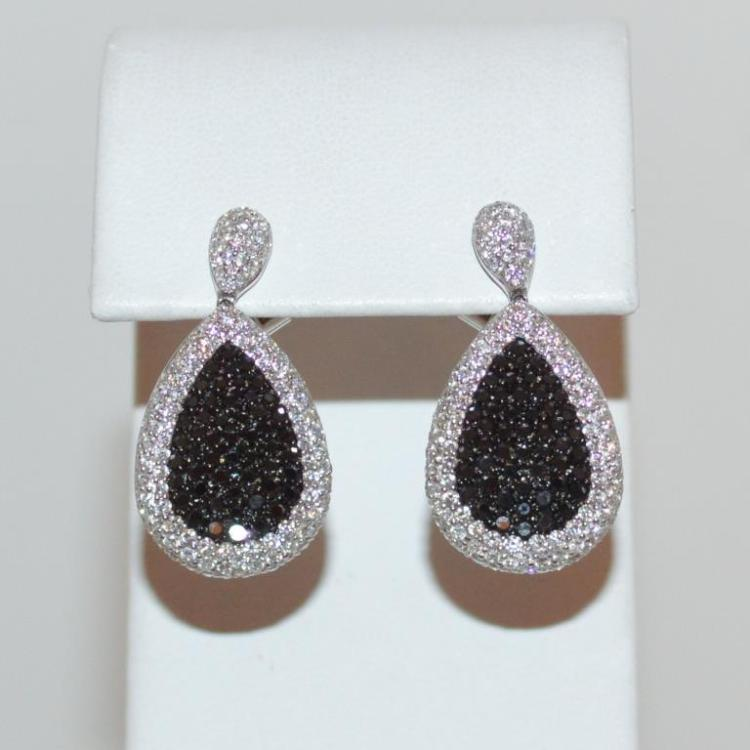 18kt white gold black and white diamond earrings for Gulf coast coin and jewelry