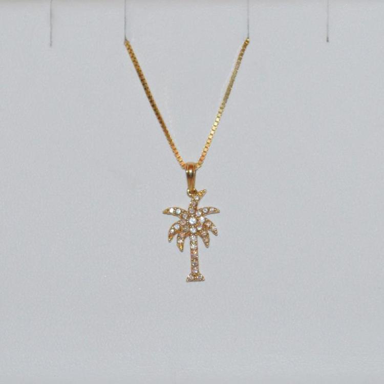 14kt yellow gold palm tree pendant