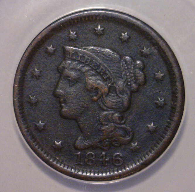 1846 Liberty Head Large Cent ANACS VF35 Details