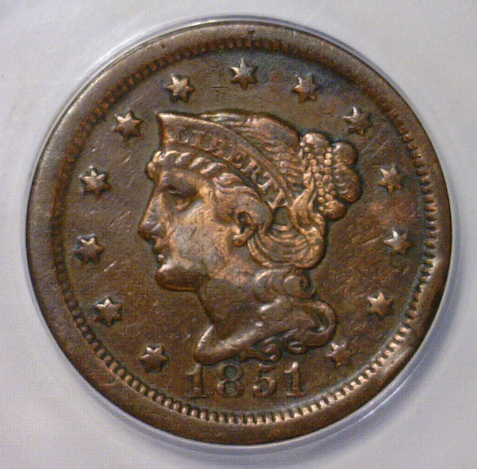 1851 Liberty Head Large Cent ANACS VF30 Details