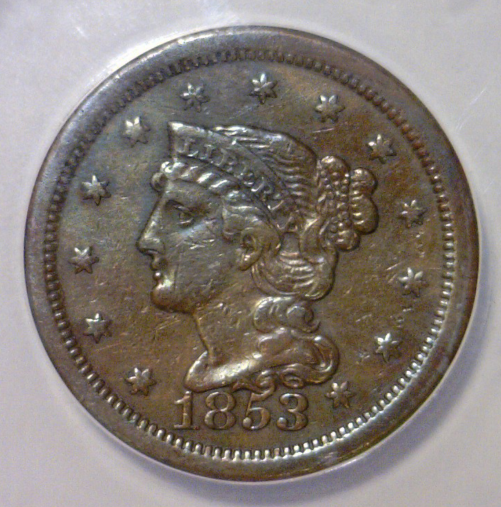 1853 Liberty Head Large Cent ANACS EF40 Details