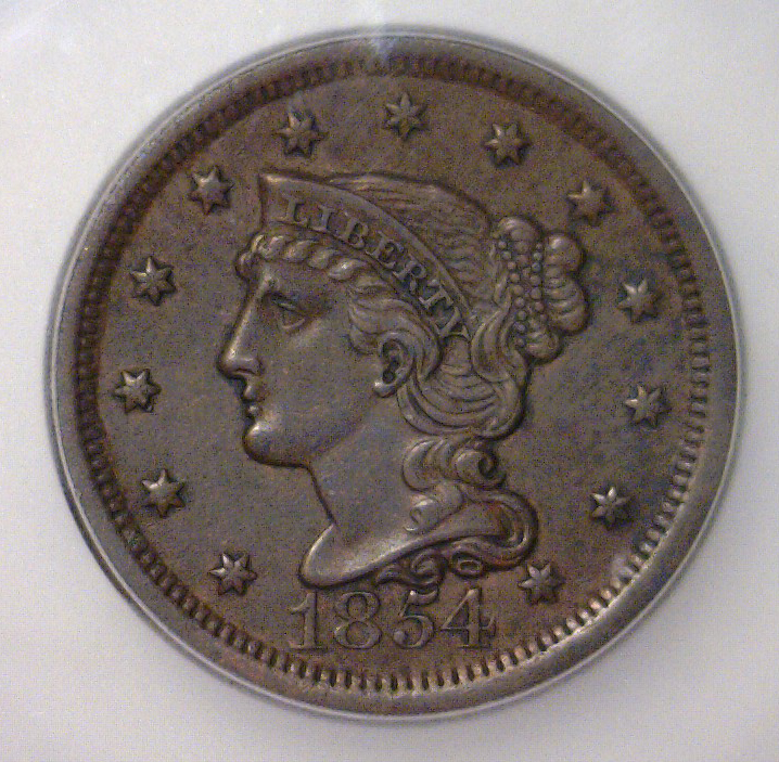 1854 Liberty Head Large Cent ICG AU50 Details