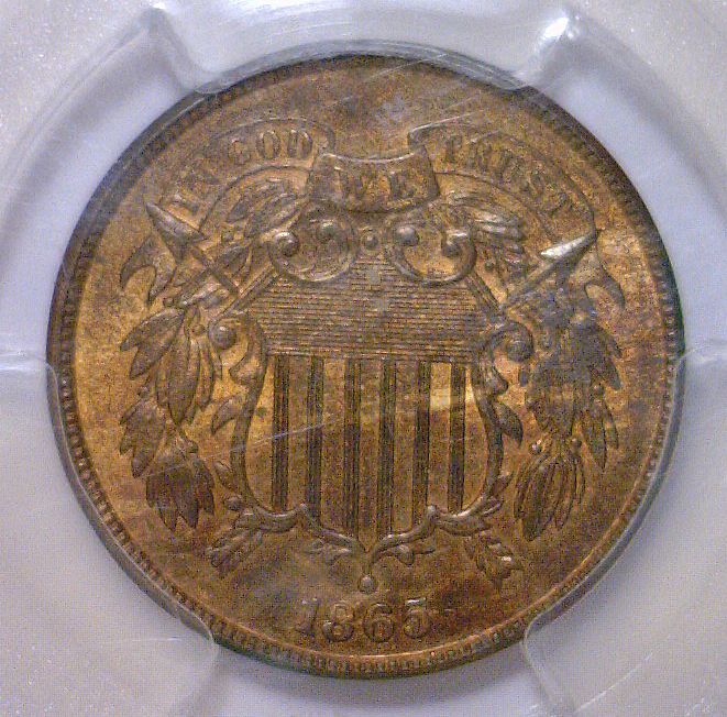 1865 Two Cent Piece PCGS MS65+ RB CAC