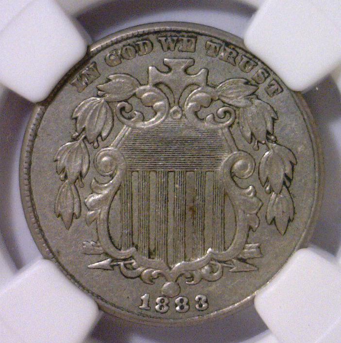 1883 Shield Nickel NGC Choice AU AU58
