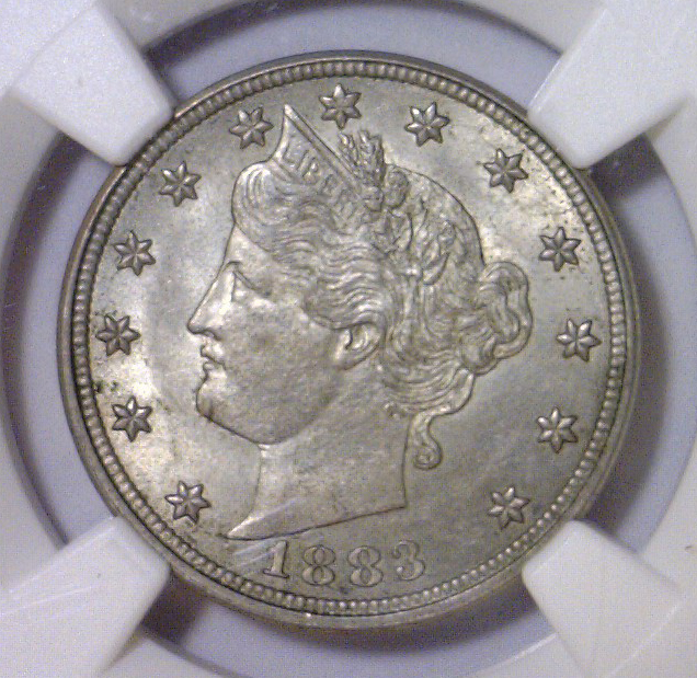 1883 Liberty Head WITH CENTS Nickel NGC MS64
