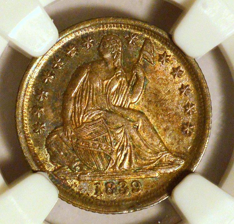 1839-O No Drapery Liberty Seated Half 10c NGC MS64