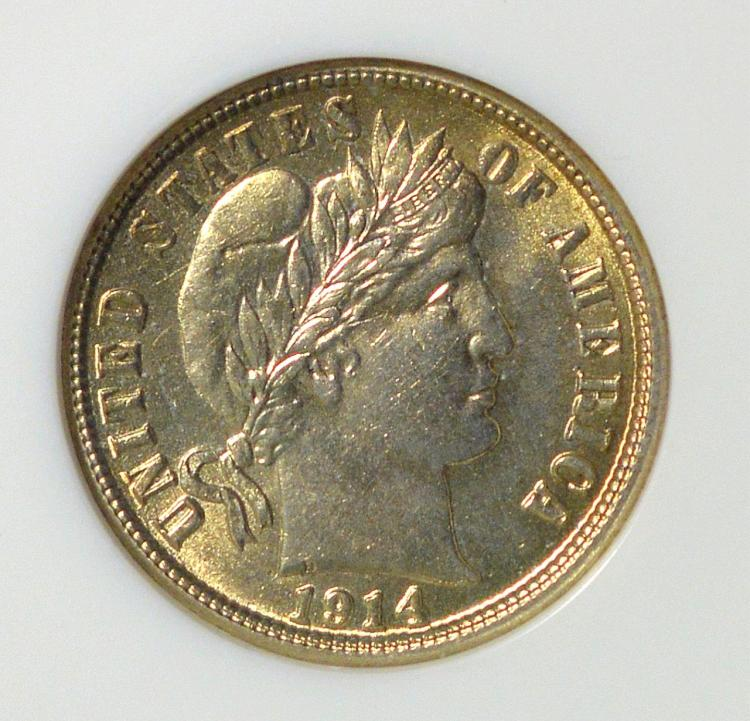 1914-S Barber Dime NGC MS 64