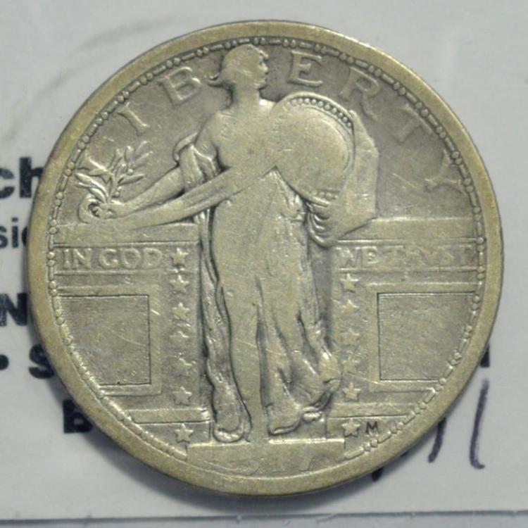 1917 Type 1 Standing Liberty Quarter Dollar VG