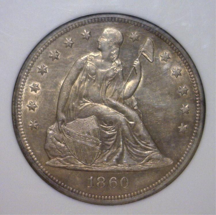 1860-O Seated Liberty Silver Dollar NGC AU58
