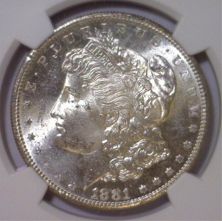 1881-S Morgan Silver Dollar NGC MS64+