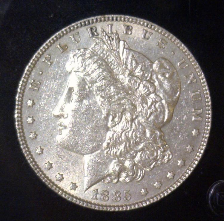 1885 Morgan Silver Dollar AU About Uncirculated