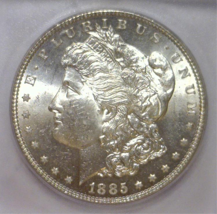 1885 Morgan Silver Dollar ICG MS63