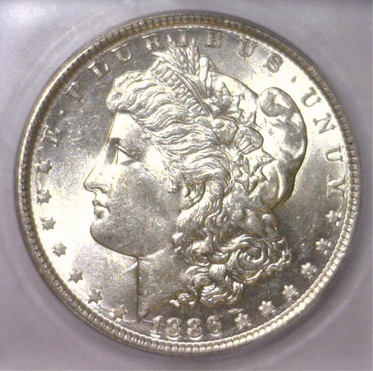 1886 Morgan Silver Dollar ICG MS63