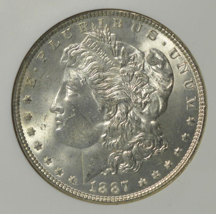 1887 Morgan Silver Dollar NGC MS 63