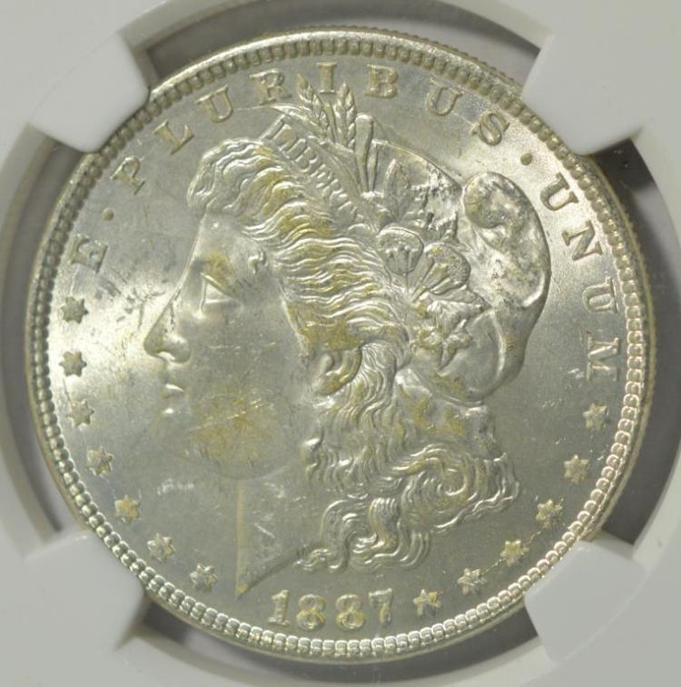 1887 Morgan Silver Dollar NGC MS63 with Flag Label