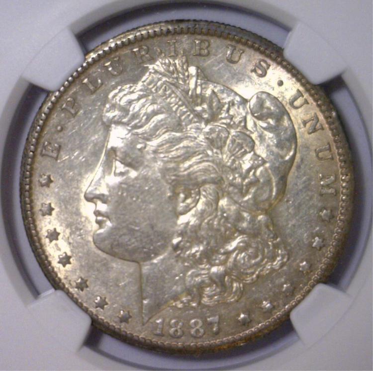 1887-S Morgan Silver Dollar NGC AU50