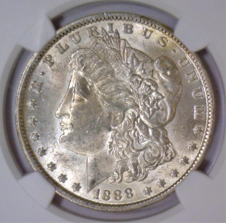 1888 Morgan Silver Dollar NGC MS62