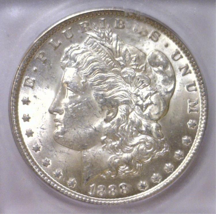 1888 Morgan Silver Dollar ICG MS63