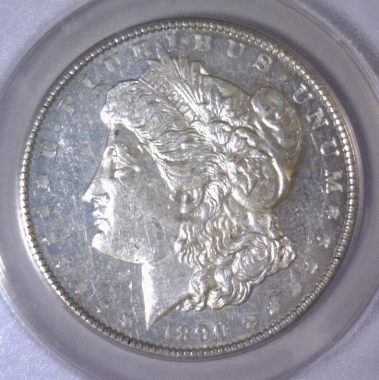 1890 Morgan Silver Dollar ANACS Choice AU AU58
