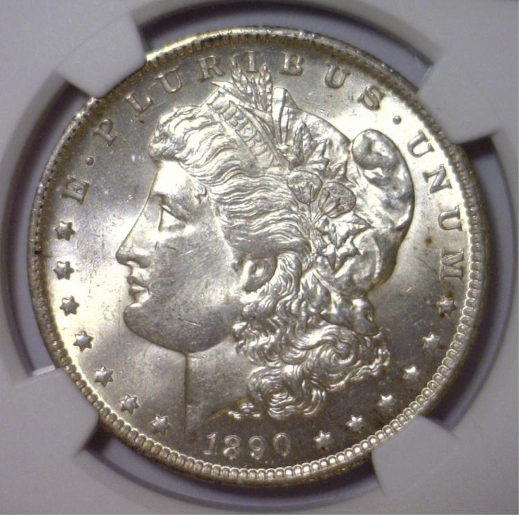 1890-O Morgan Silver Dollar NGC UNC Details Rv I/C