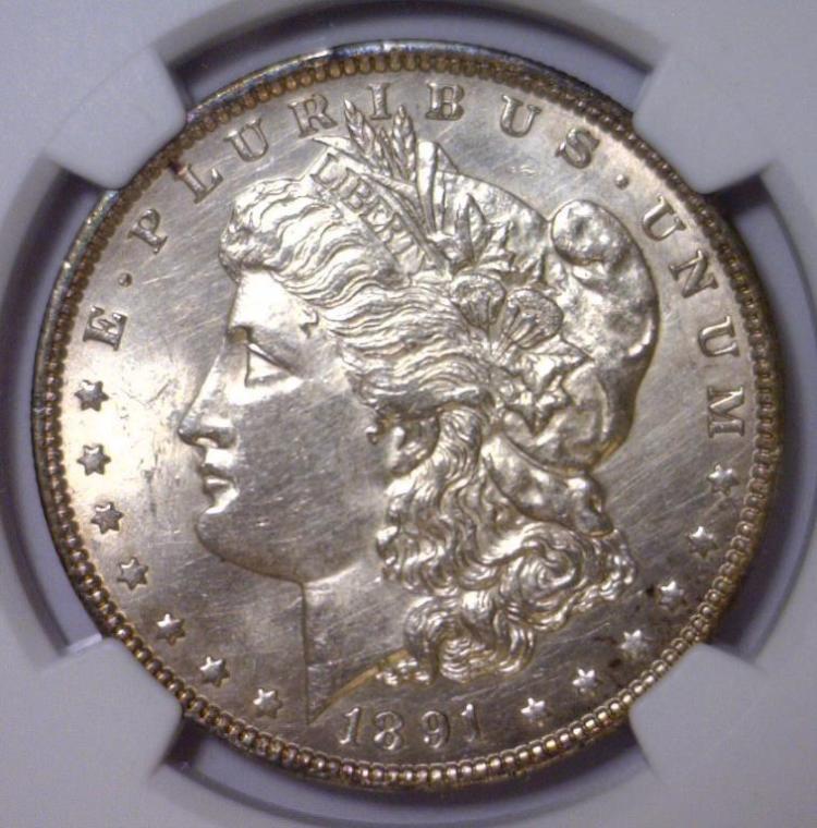 1891 Morgan Silver Dollar NGC UNC Details I/C