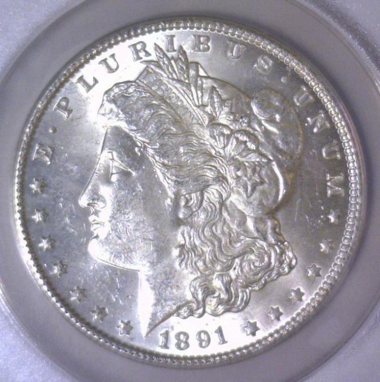 1891 Morgan Silver Dollar ANACS MS62