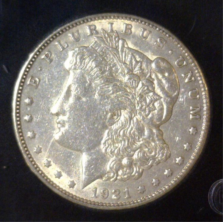 1921-S Morgan Silver Dollar About Uncirculated AU