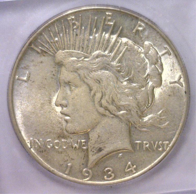 1934 Peace Silver Dollar ICG AU58