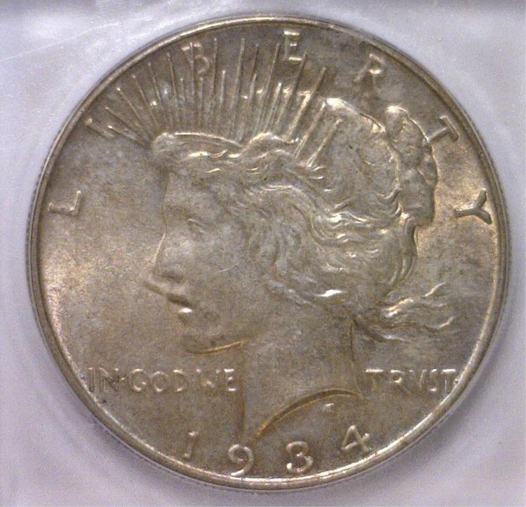 1934 Peace Silver Dollar ICG MS62
