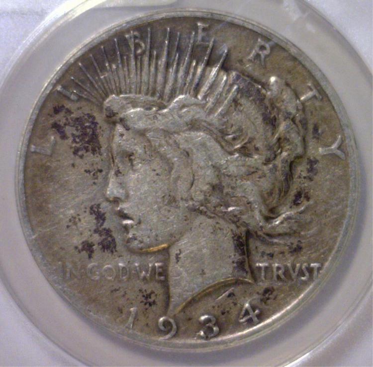 1934-S Peace Silver Dollar ANACS Fine F12