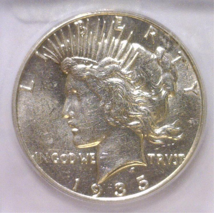 1935-S Peace Silver Dollar ICG MS61