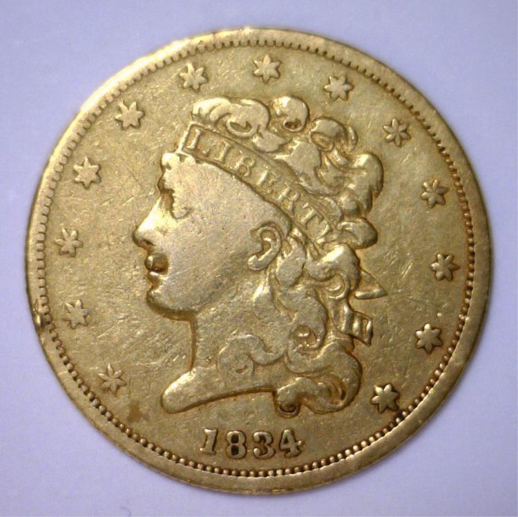 1834 $5 Classic Head Gold Half Eagle Very Fine VF