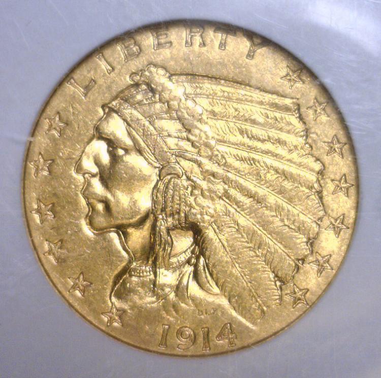 1914 $2.5 Indian Gold Quarter Eagle NGC MS61
