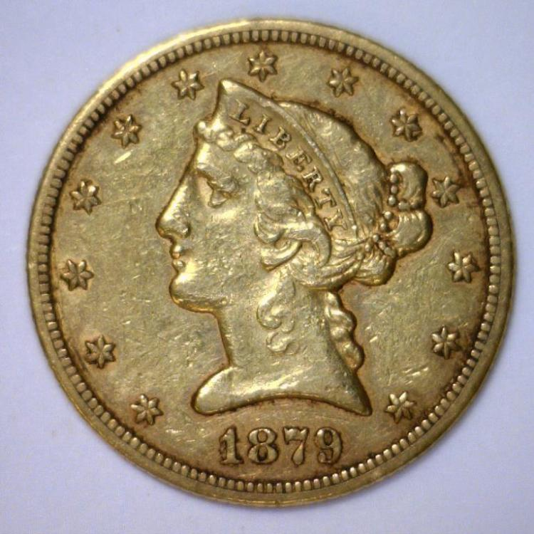 1879-S $5 Liberty Gold Half Eagle Extra Fine XF+
