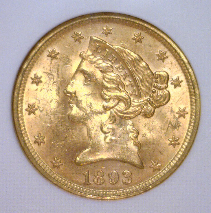 1893 $5 Liberty Half Gold Eagle NGC MS63