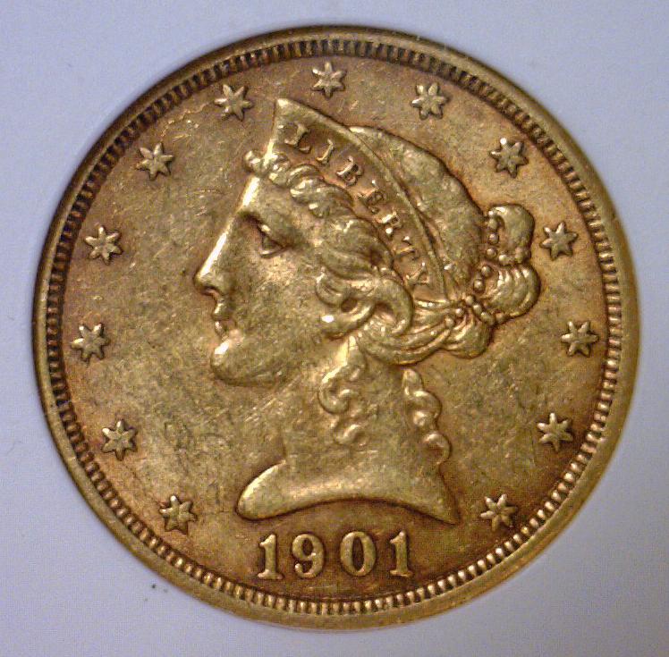 1901-S $5 Liberty Head Gold Half Eagle ANACS AU55