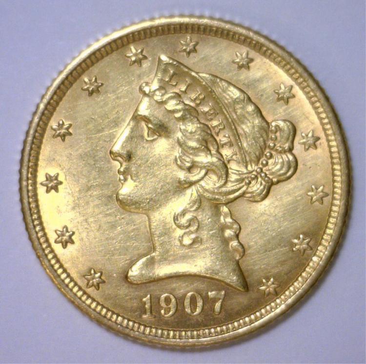 1907 $5 Liberty Gold Half Eagle BU Brilliant Unc.