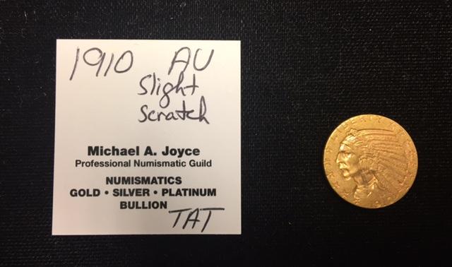 1910 $5 Gold Indian Half Eagle AU Details