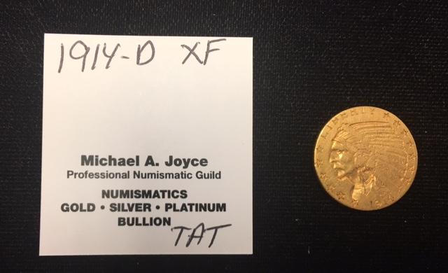 1914-D $5 Gold Half Eagle XF
