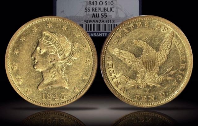 1843-O NGC AU-55 $10 Gold Eagle SS Republic
