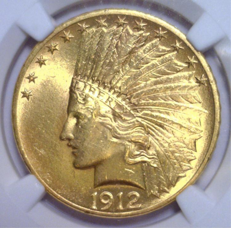 1912 $10 Indian Gold Eagle NGC UNC Details Cleaned