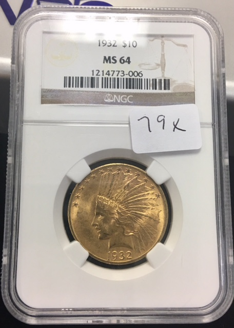 1932 NGC MS-64 $10 Gold Indian - Premium Quality!