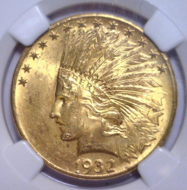 1932 $10 Indian Gold Eagle NGC MS64