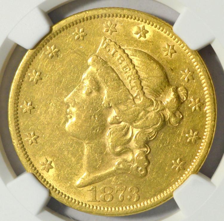 1873 Open 3 G$20 Liberty Head Dbl. Eagle NGC AU 53