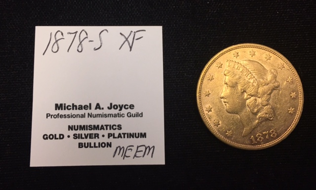 1878-S $20 Double Eagle Liberty Gold XF+