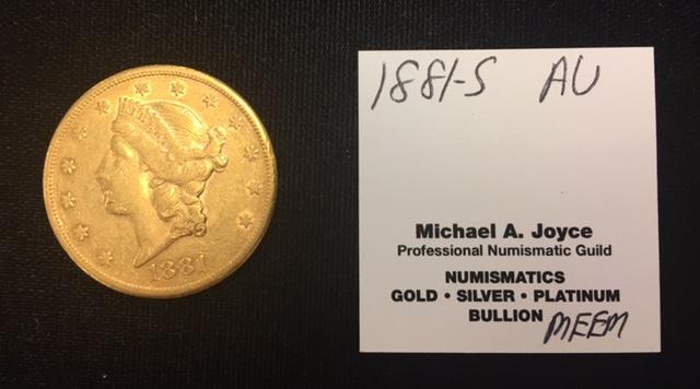 1881-S $20 Double Eagle Liberty Gold AU