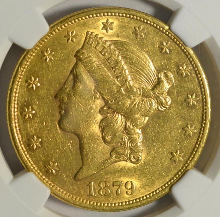1879-S $20 Liberty Head Gold Double Eagle NGC AU55