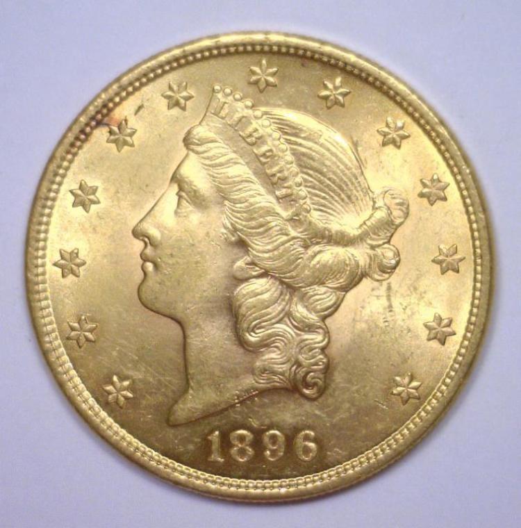 1896 $20 Liberty Gold Double Eagle BU MS63+
